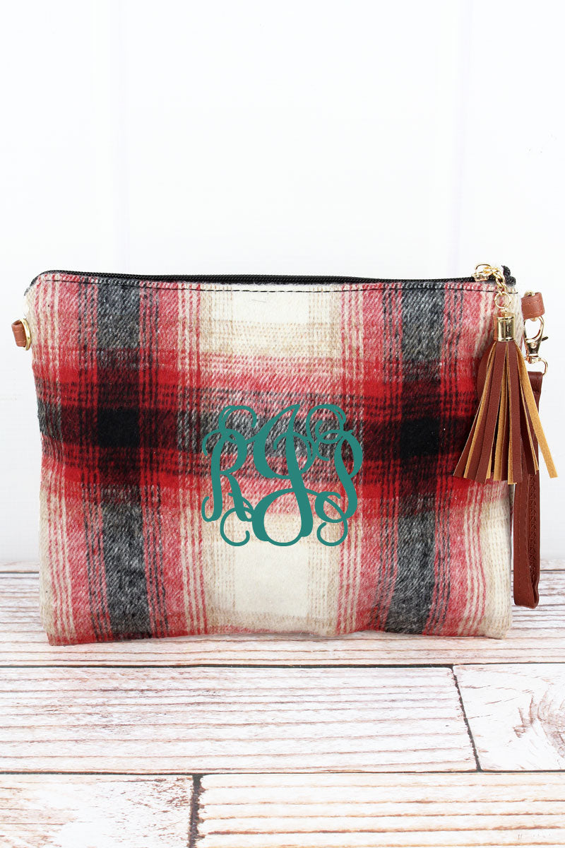 Red Harvest Moon Plaid Tassel Crossbody Clutch