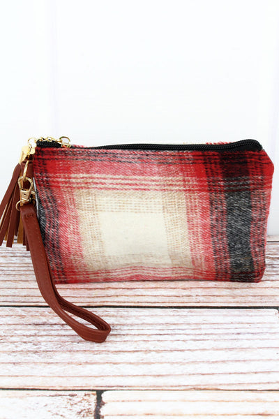 Red Harvest Moon Plaid Tassel Wristlet Pouch