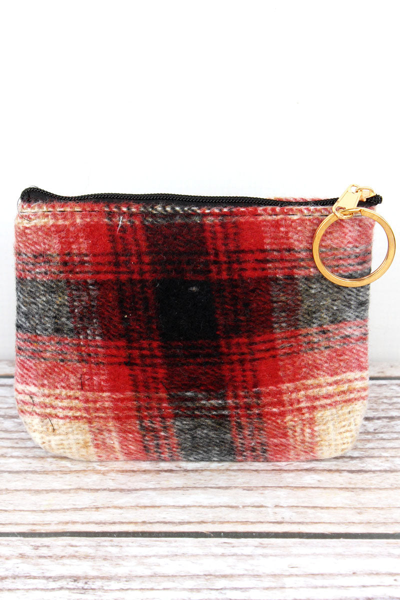 Red Harvest Moon Plaid Coin Purse