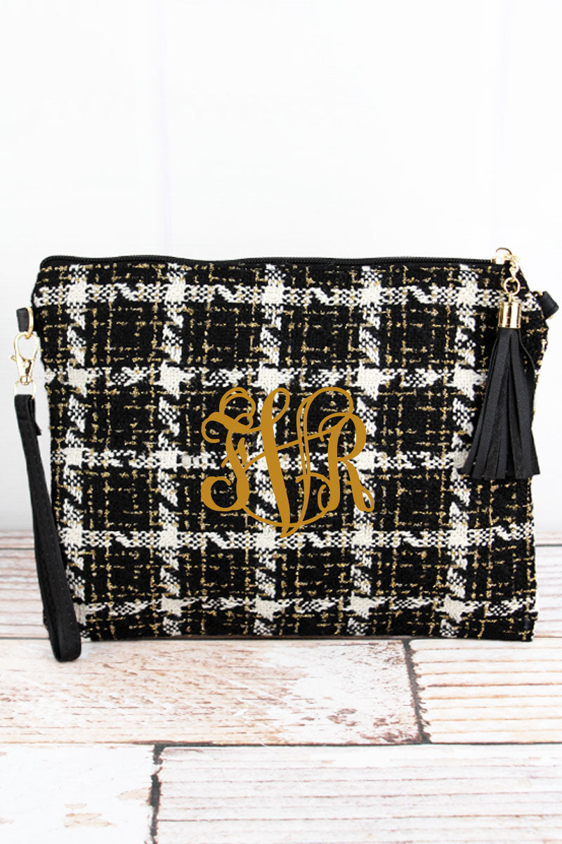 Yukon Gold Tassel Crossbody Clutch, Black