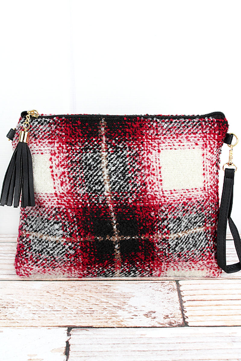 Red Bonfire Blaze Plaid Tassel Crossbody Clutch