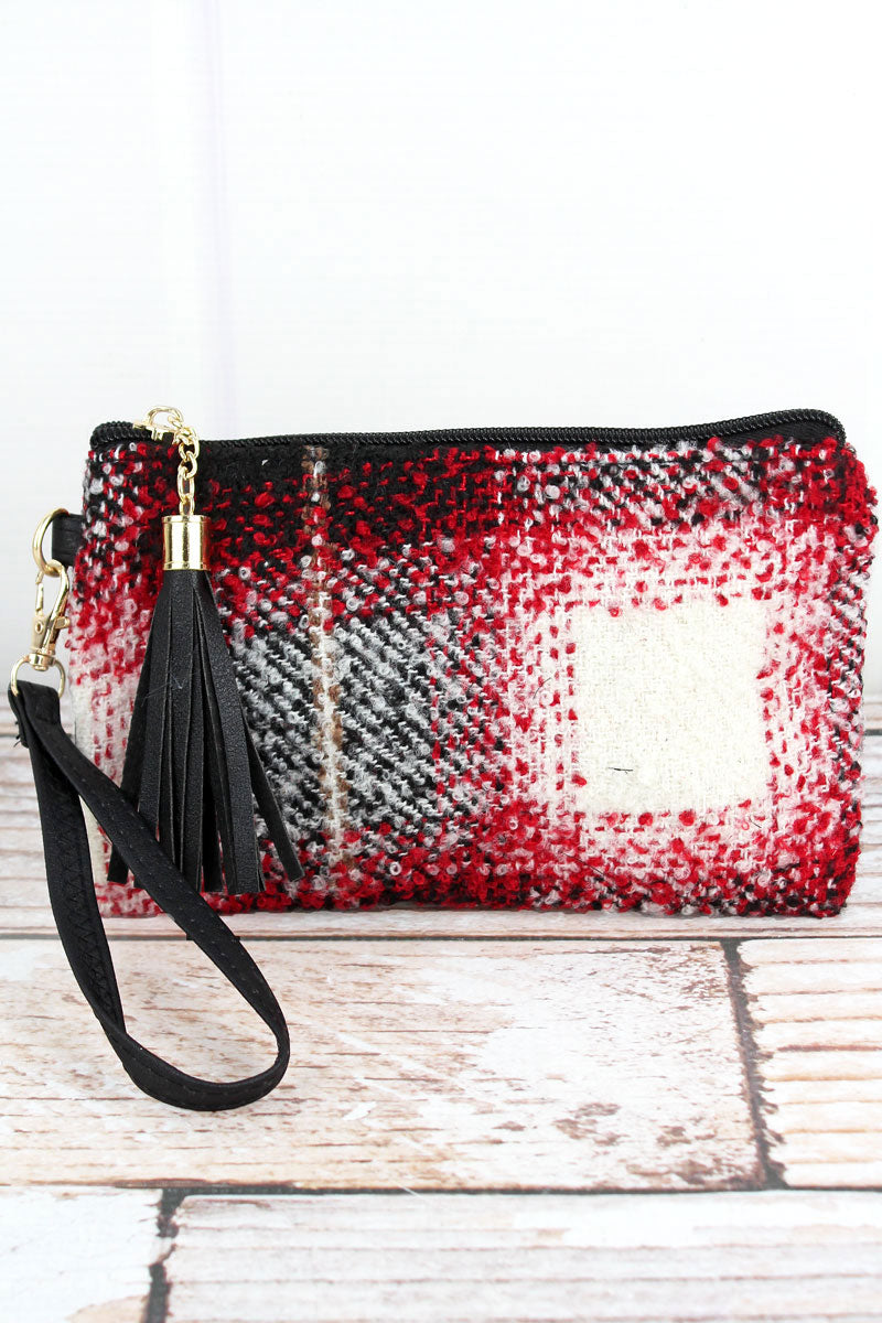 Red Bonfire Blaze Plaid Tassel Wristlet Pouch