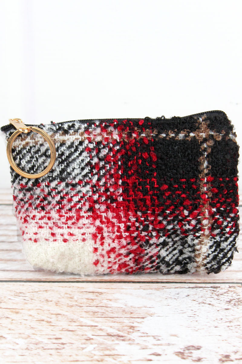Red Bonfire Blaze Plaid Coin Purse