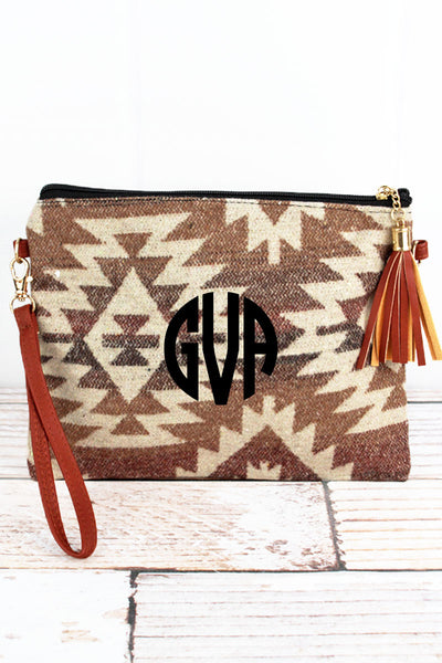 Brown Sedona Stars Tassel Crossbody Clutch