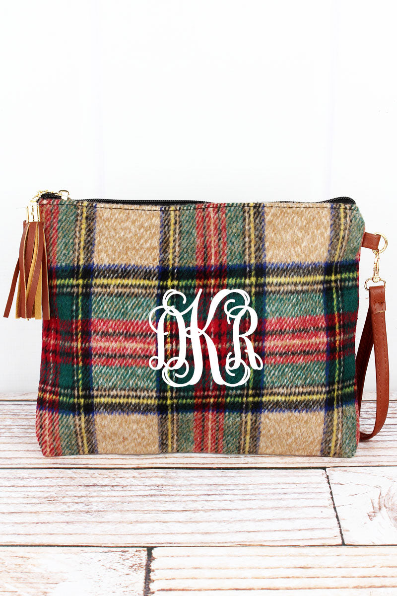 Beige Scottish Tartan Tassel Crossbody Clutch