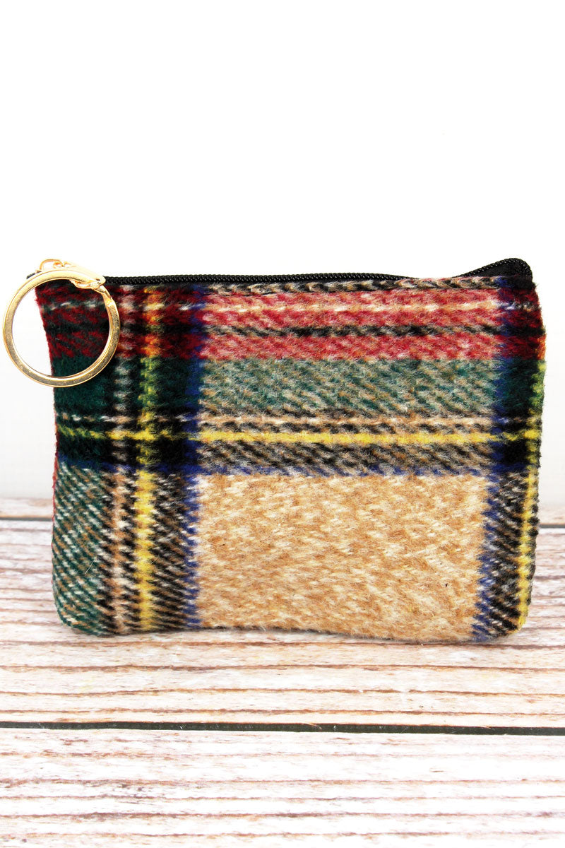 Beige Scottish Tartan Coin Purse