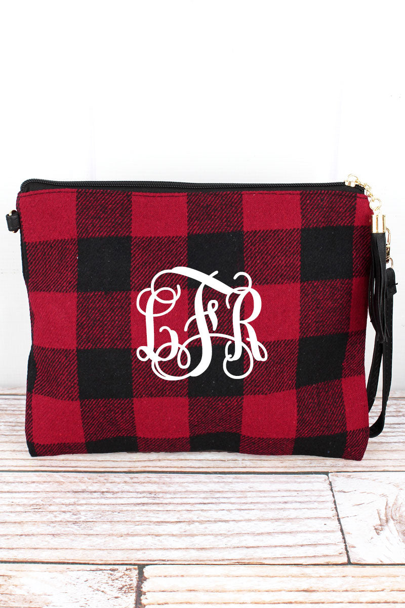 Red and Black Rustic Retreat Tassel Crossbody Clutch