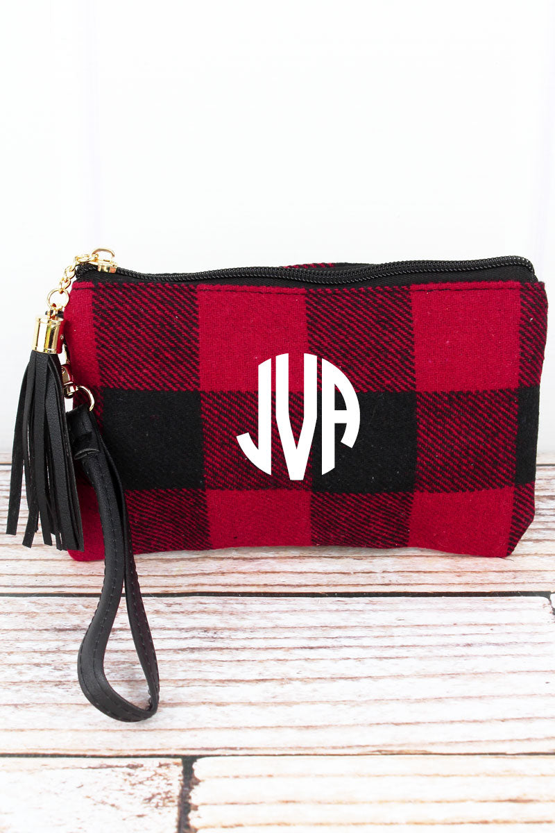 Red and Black Rustic Retreat Tassel Wristlet Pouch