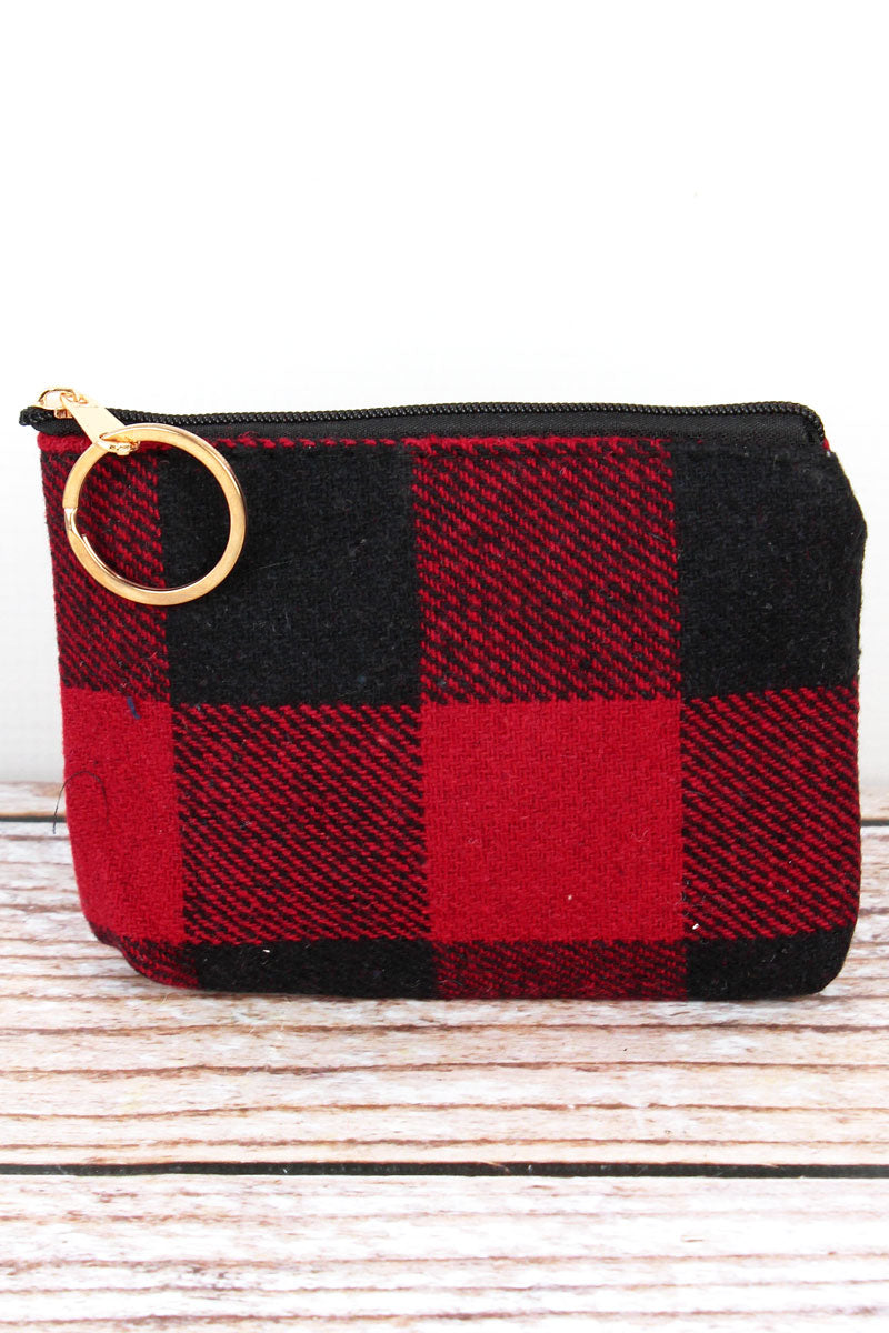 Red and Black Rustic Retreat Coin Purse