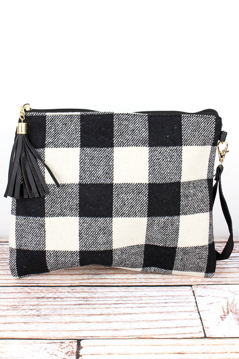 Black and White Rustic Retreat Tassel Crossbody Clutch