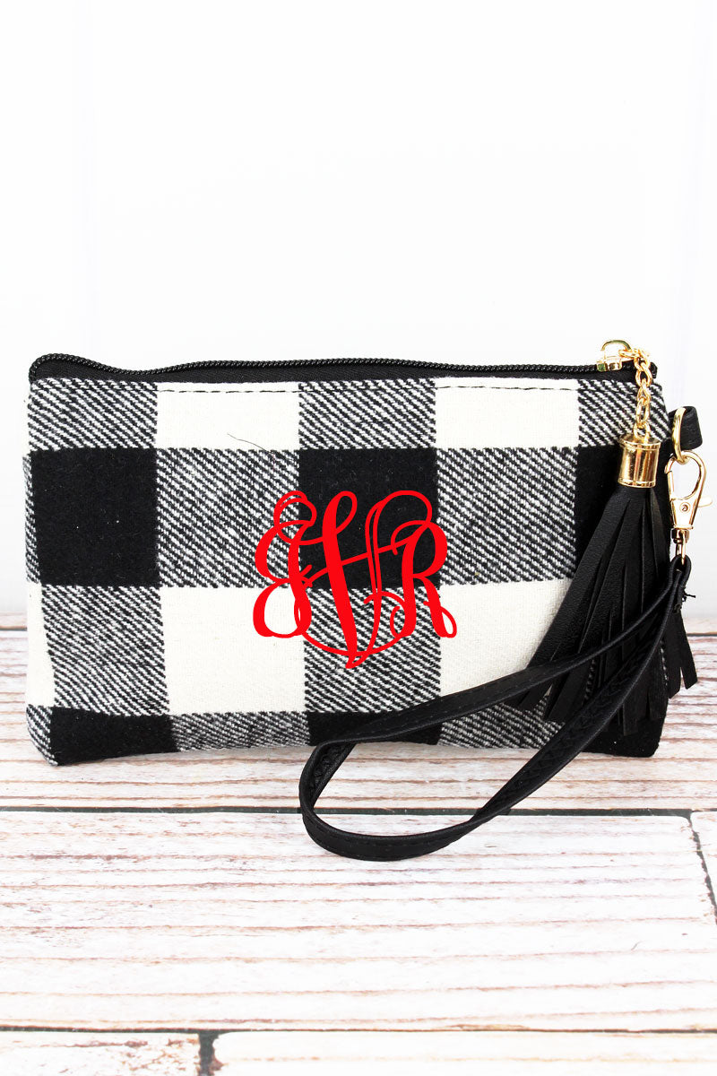 Black and White Rustic Retreat Tassel Wristlet Pouch