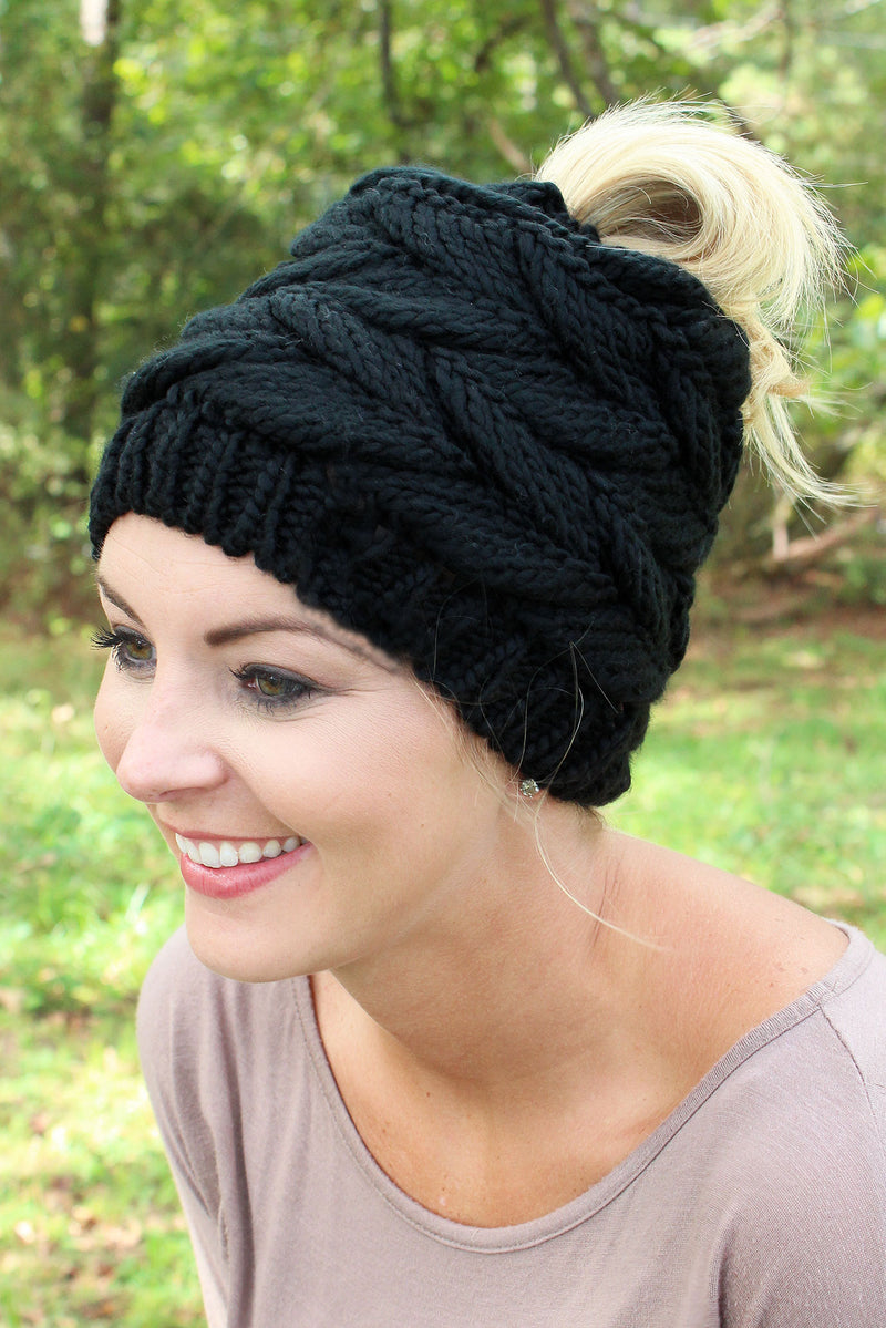Think Warm Thoughts Messy Bun Beanie, Black