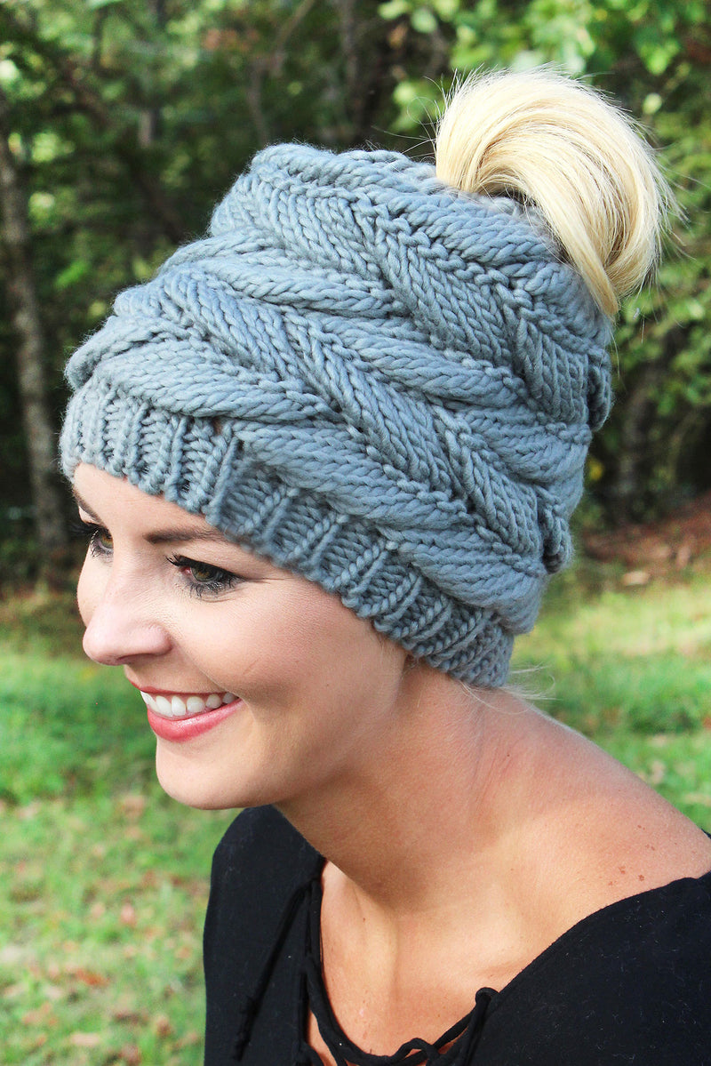 Think Warm Thoughts Messy Bun Beanie, Gray