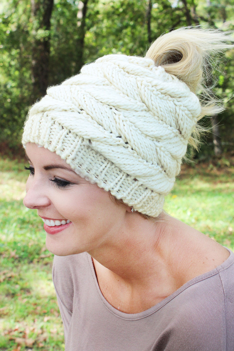 Think Warm Thoughts Messy Bun Beanie, Ivory