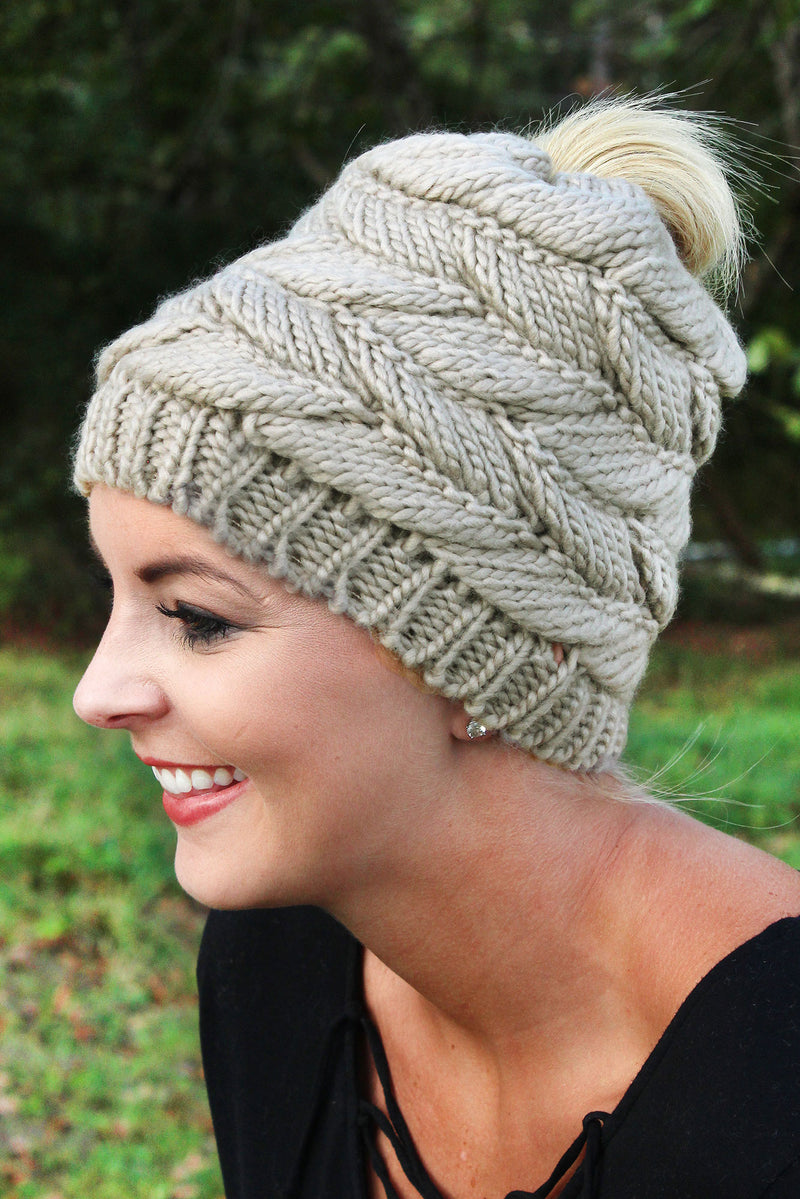 Think Warm Thoughts Messy Bun Beanie, Taupe