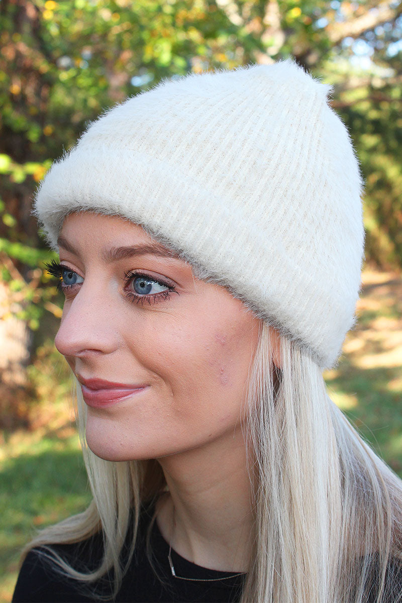 Alaska Adventure Furry Knit Beanie, Ivory