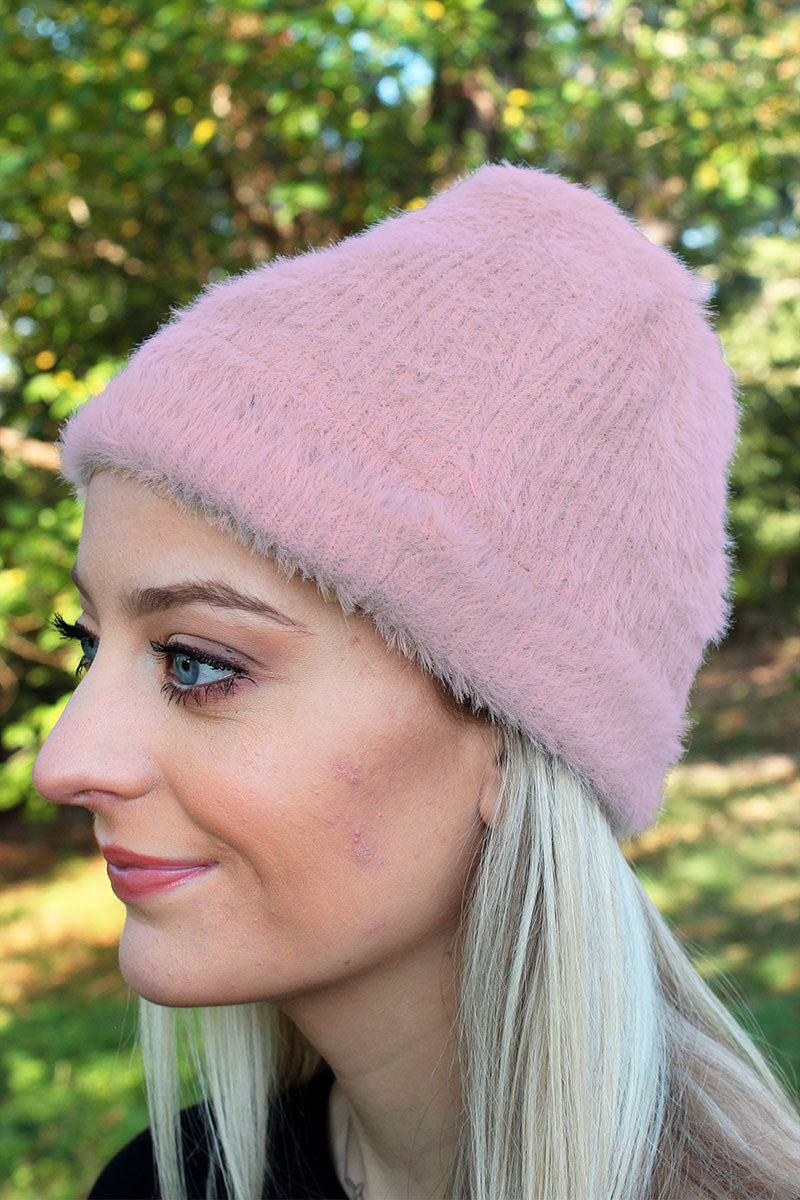Alaska Adventure Furry Knit Beanie, Pink