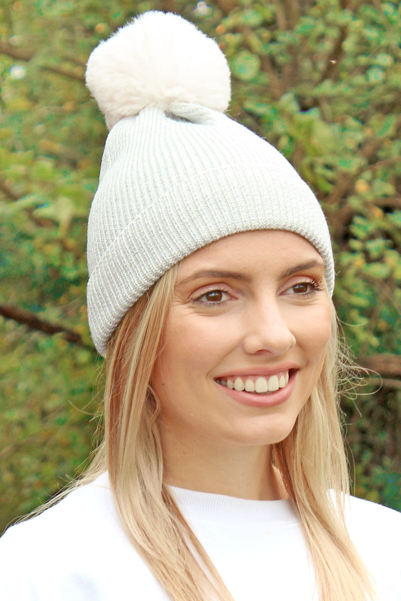 Winter Marches On Pom Pom Beanie, Ivory