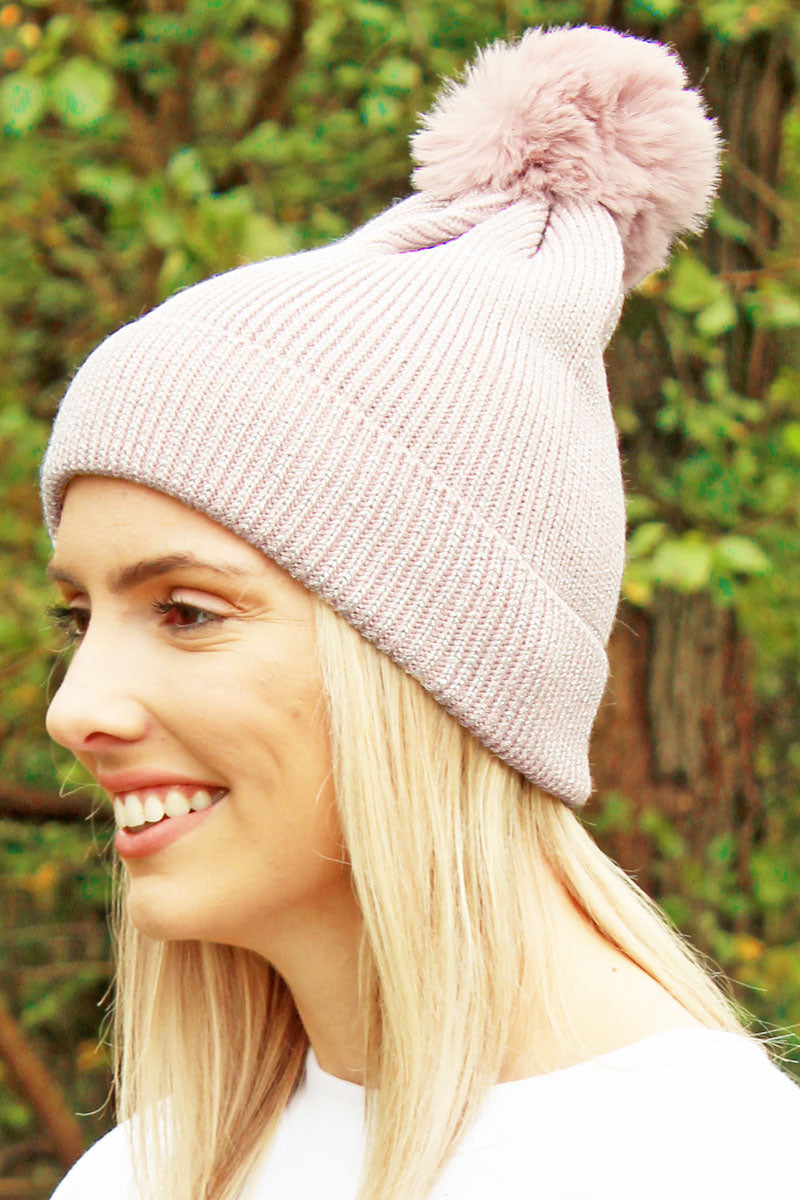 Winter Marches On Pom Pom Beanie, Pink