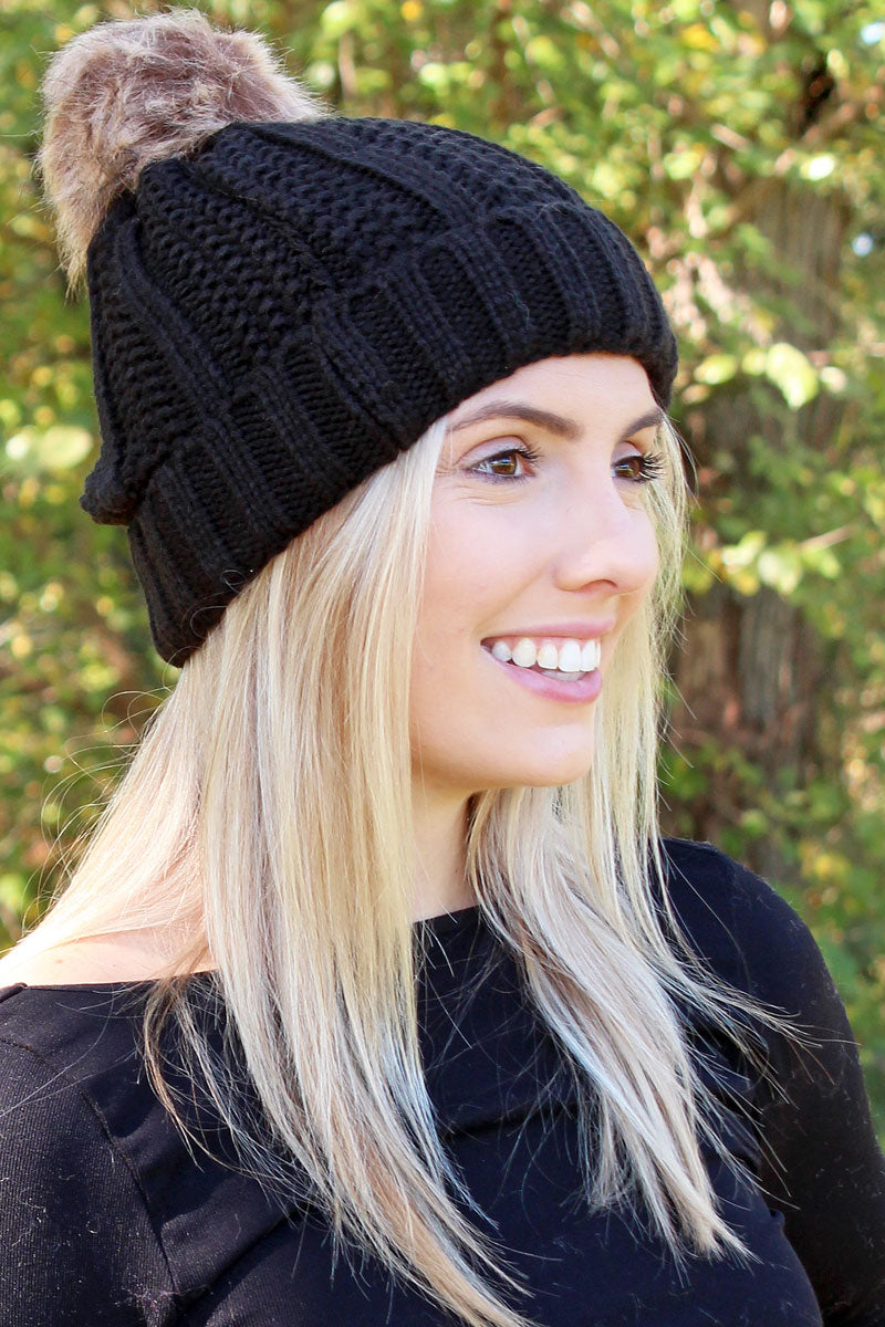 Fireside Fun Pom Pom Beanie, Black