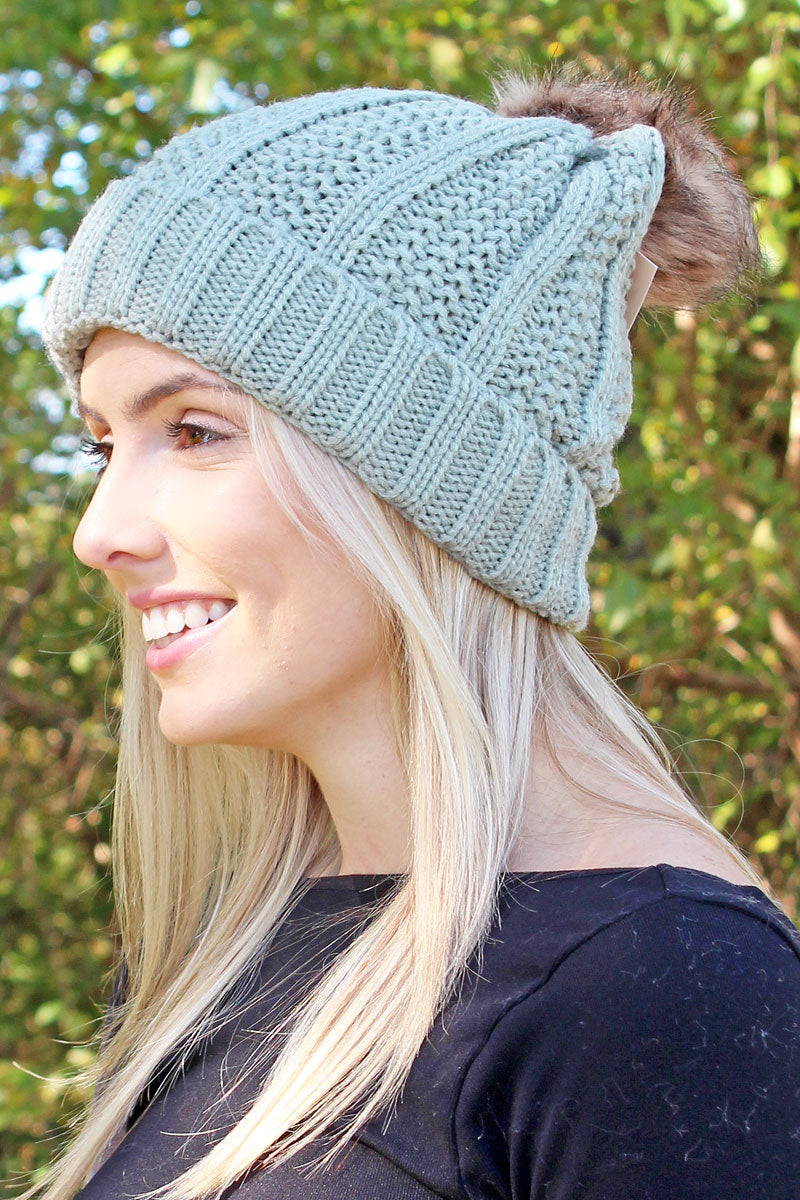 Fireside Fun Pom Pom Beanie, Gray