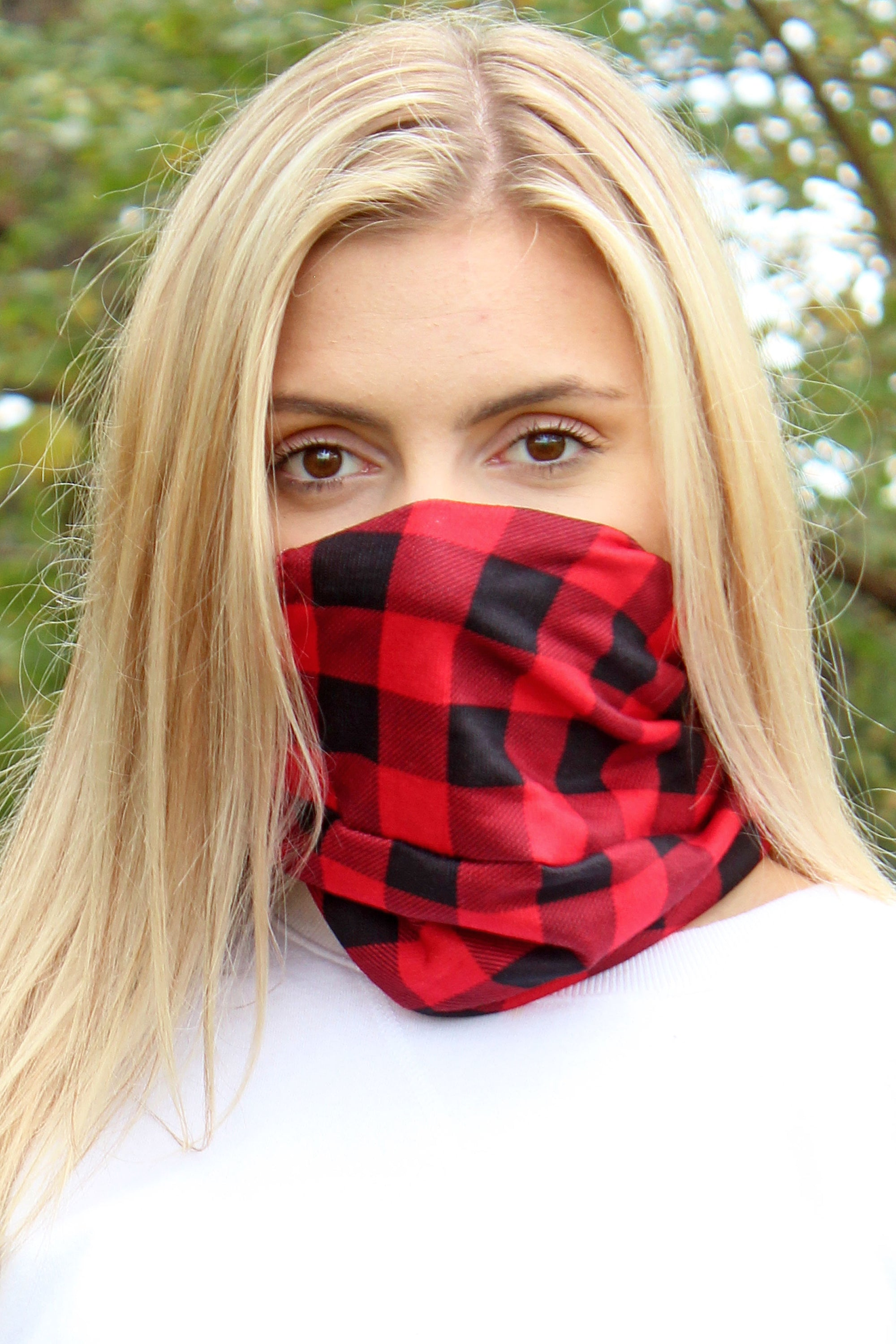 Red and Black Buffalo Plaid Double Layer Twisted Face Mask Neck Gaiter