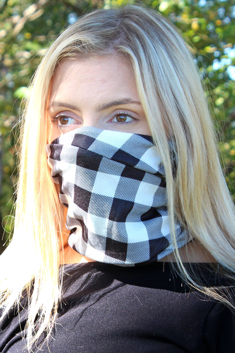 Black and White Buffalo Plaid Double Layer Twisted Face Mask Neck Gaiter