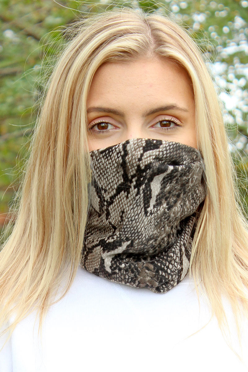 Beige Python Double Layer Twisted Face Mask Neck Gaiter