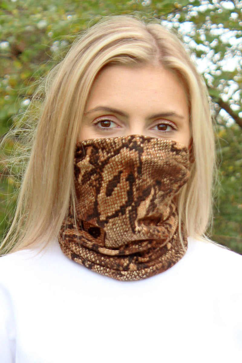 Taupe Python Double Layer Twisted Face Mask Neck Gaiter