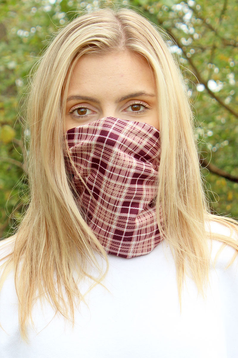 Beige Scottish Plaid Double Layer Twisted Face Mask Neck Gaiter
