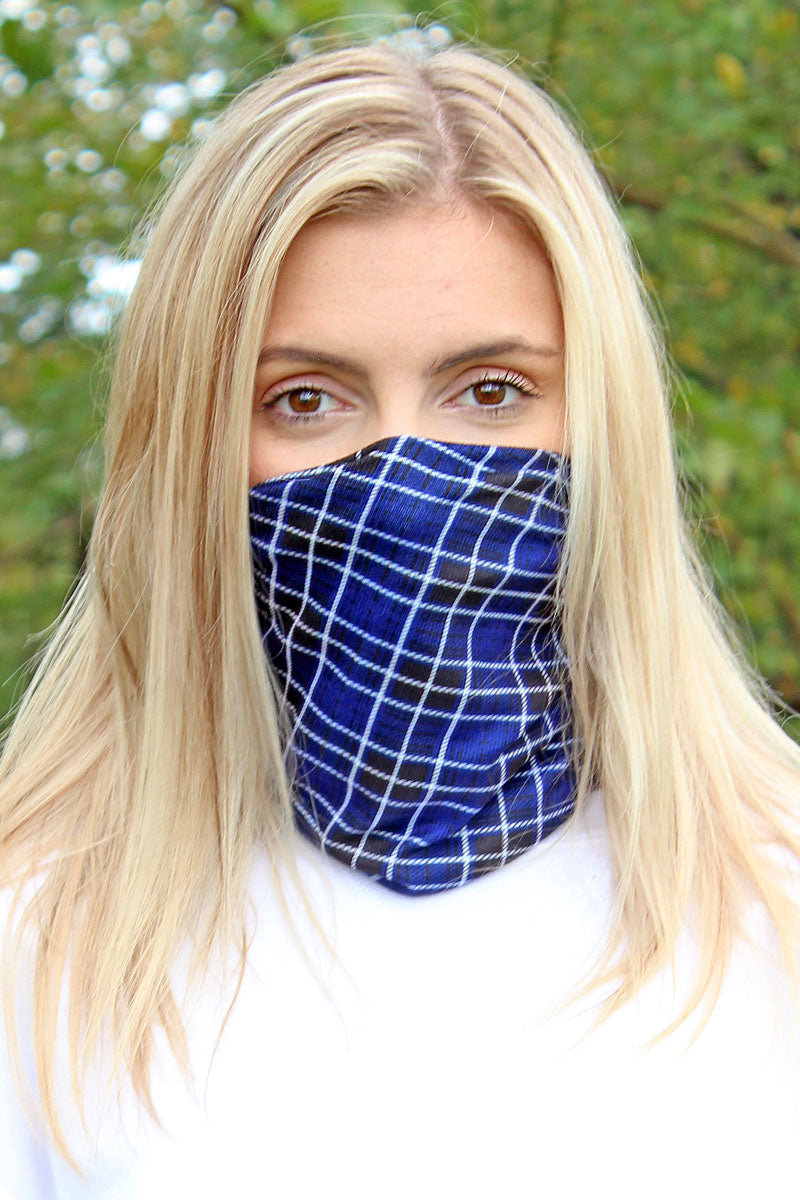Navy Scottish Plaid Double Layer Twisted Face Mask Neck Gaiter
