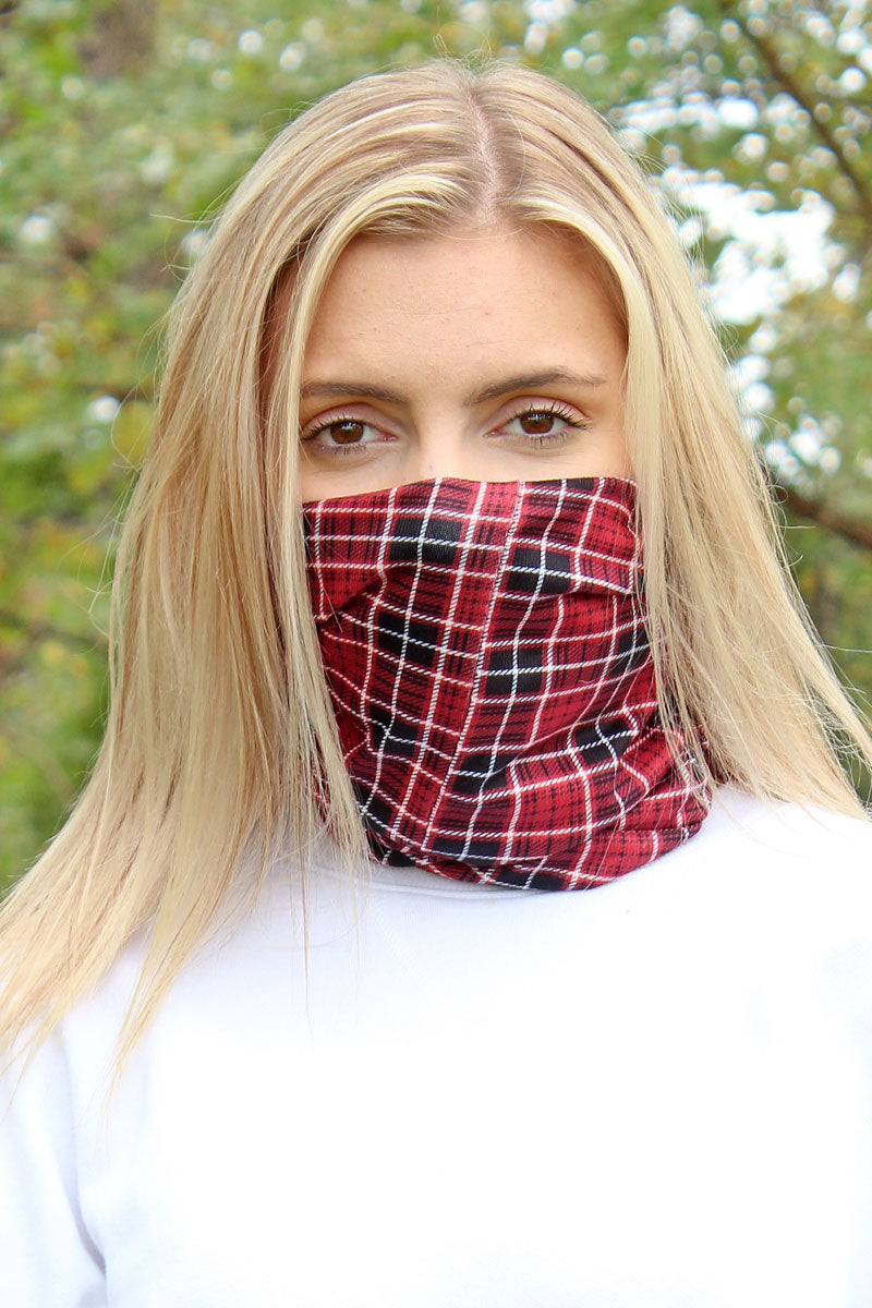 Rust Scottish Plaid Double Layer Twisted Face Mask Neck Gaiter