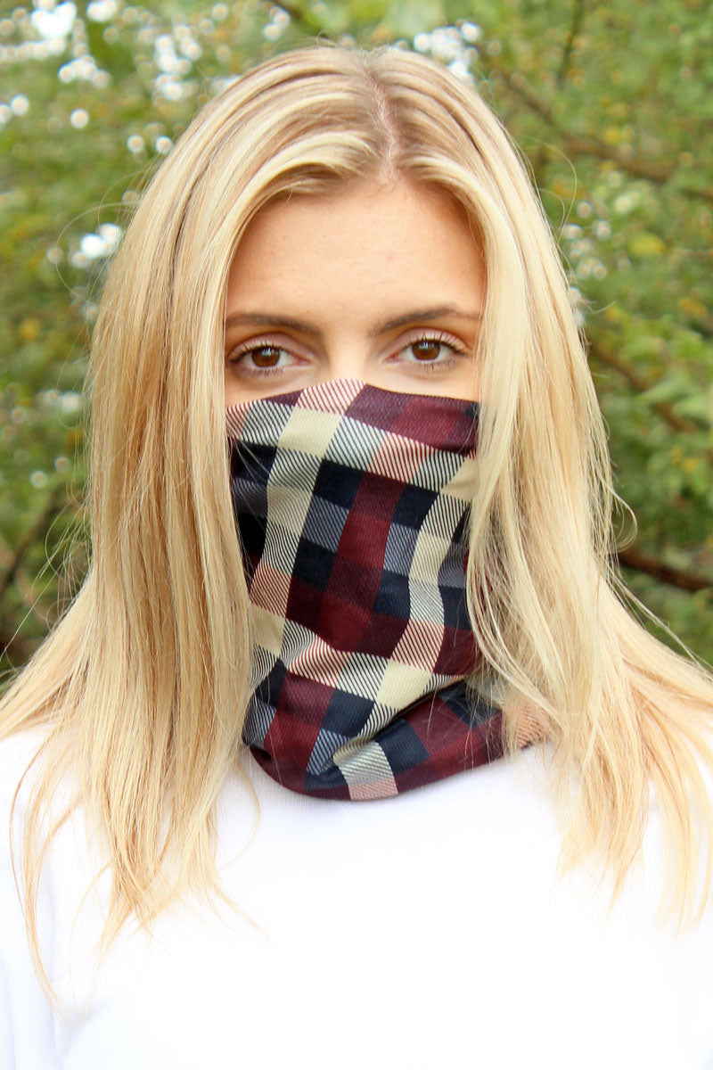 Burgundy Checkerboard Double Layer Twisted Face Mask Neck Gaiter