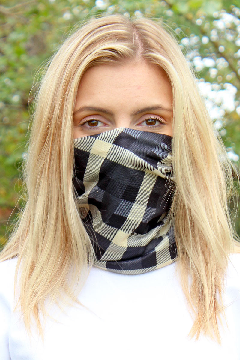 Gray Checkerboard Double Layer Twisted Face Mask Neck Gaiter
