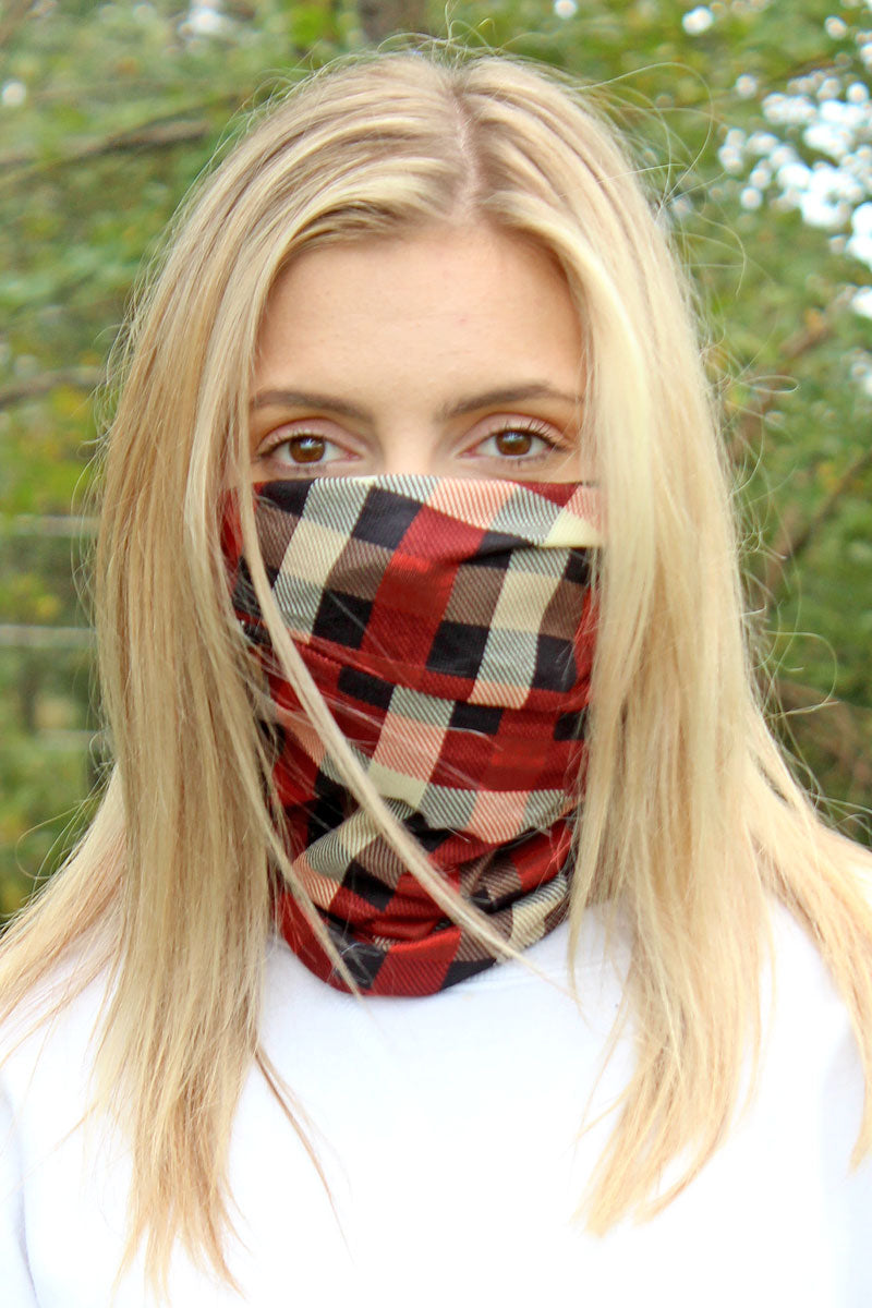 Rust Checkerboard Double Layer Twisted Face Mask Neck Gaiter