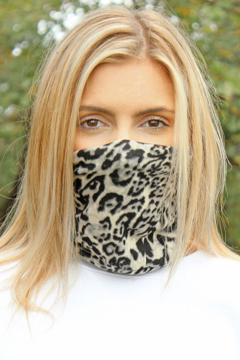 Gray Leopard Double Layer Twisted Face Mask Neck Gaiter