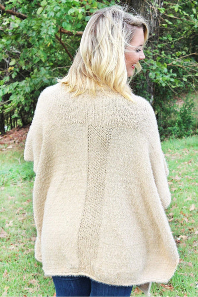 Catch Your Eye Knit Turtleneck Poncho, Beige