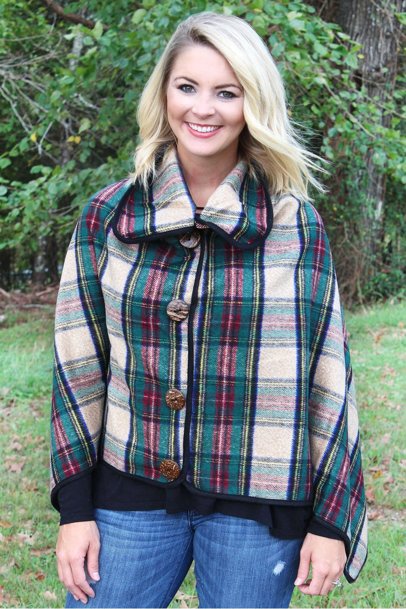 On The Button Tartan Poncho, Beige