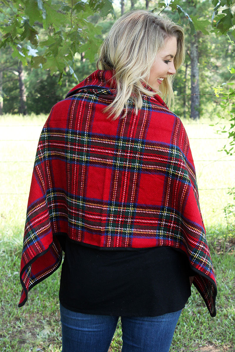 On The Button Tartan Poncho, Red