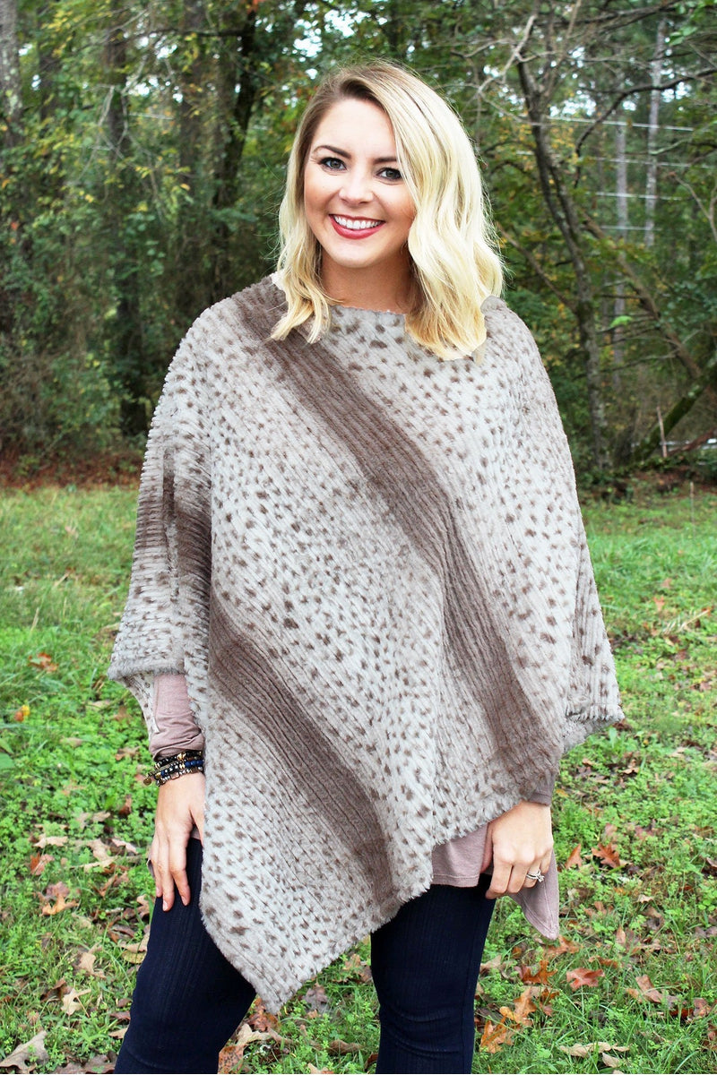 Seeing Spots Faux Fur Poncho, Taupe