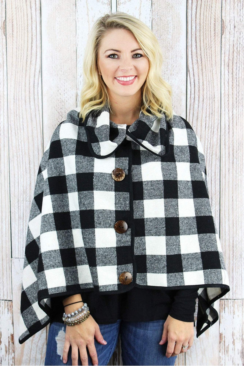 On The Button Buffalo Plaid Poncho, Black and White