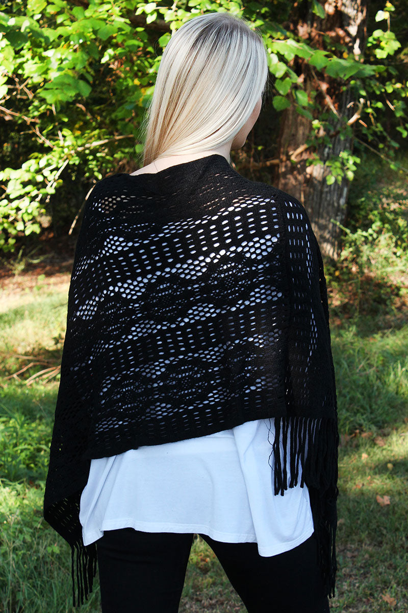 November Nights Poncho, Black