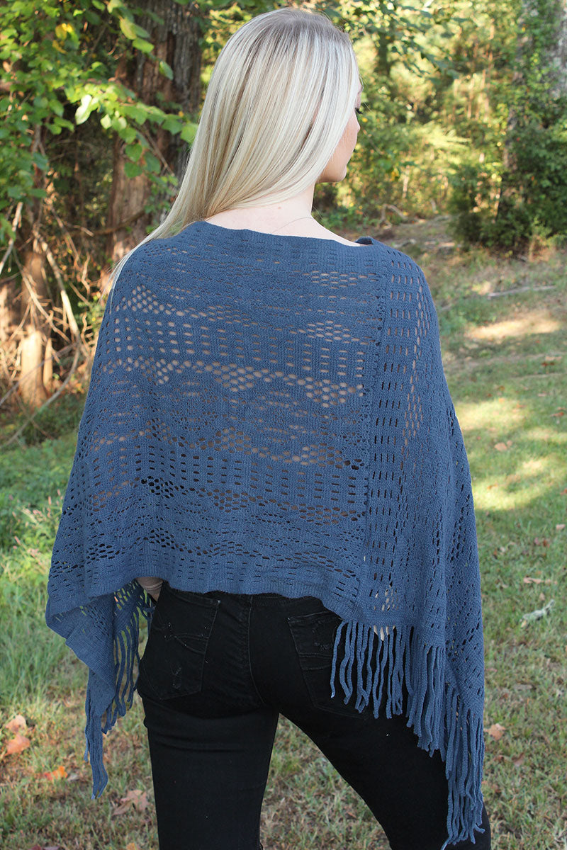 November Nights Poncho, Blue