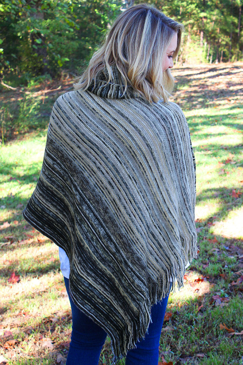 Sun Valley Stripes Cowl Neck Poncho, Black