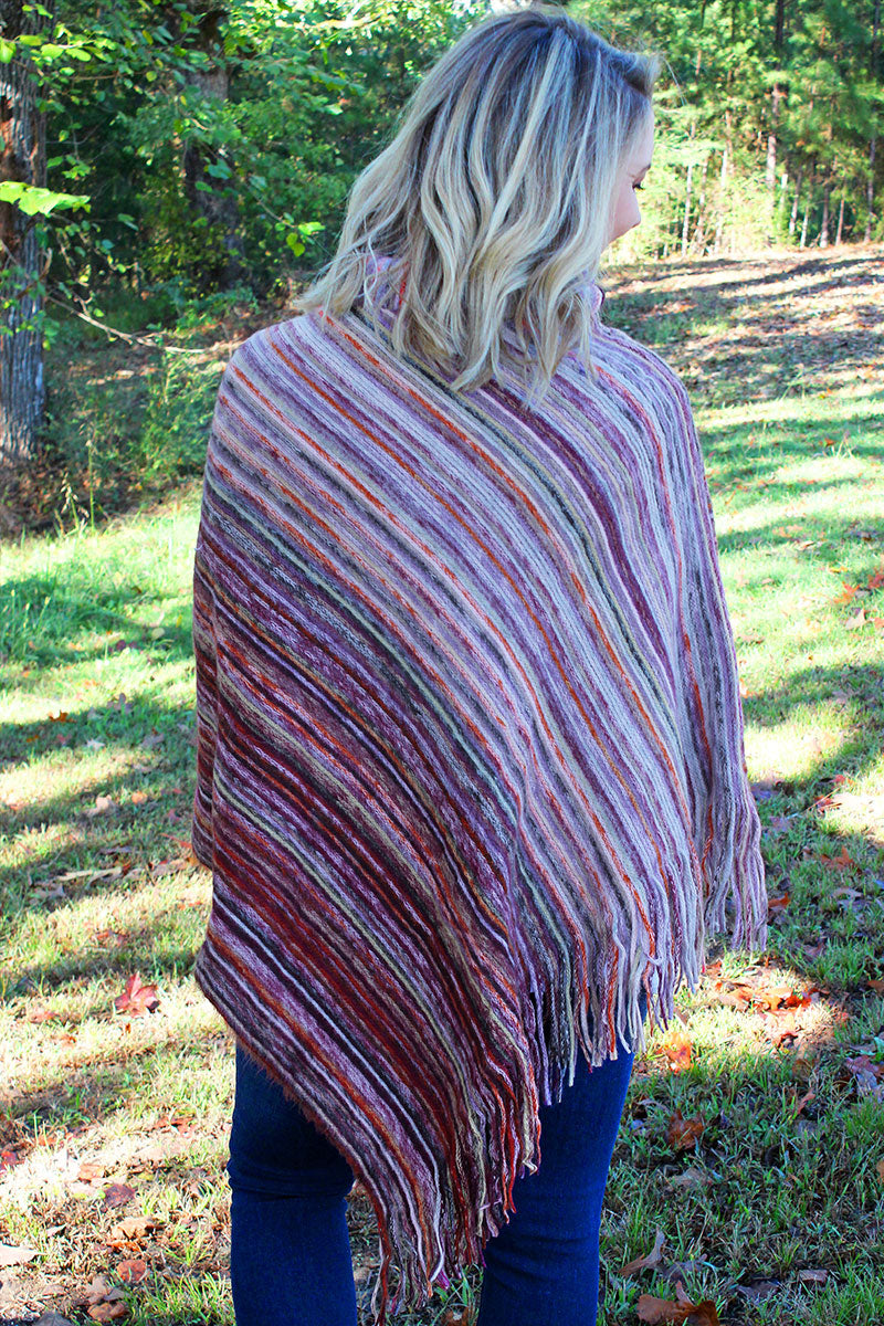 Sun Valley Stripes Cowl Neck Poncho, Burgundy