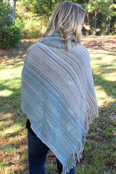 SALE! Sun Valley Stripes Cowl Neck Poncho, Taupe