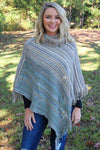 Sun Valley Stripes Cowl Neck Poncho, Taupe