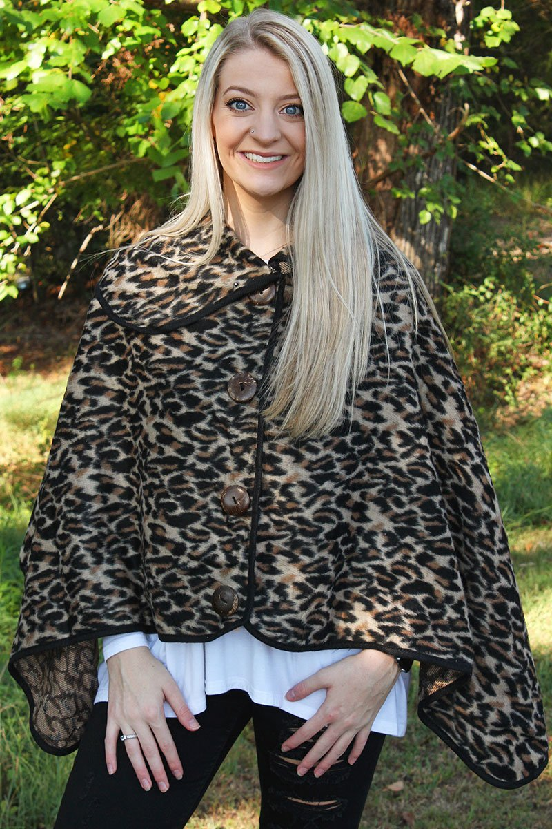 Feline Fierce Button Poncho, Beige