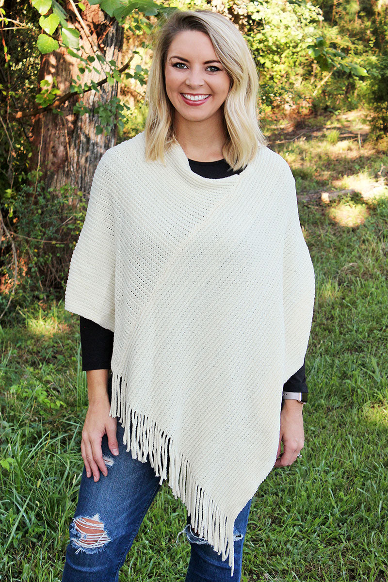 Winter Wind Chenille Poncho, Ivory