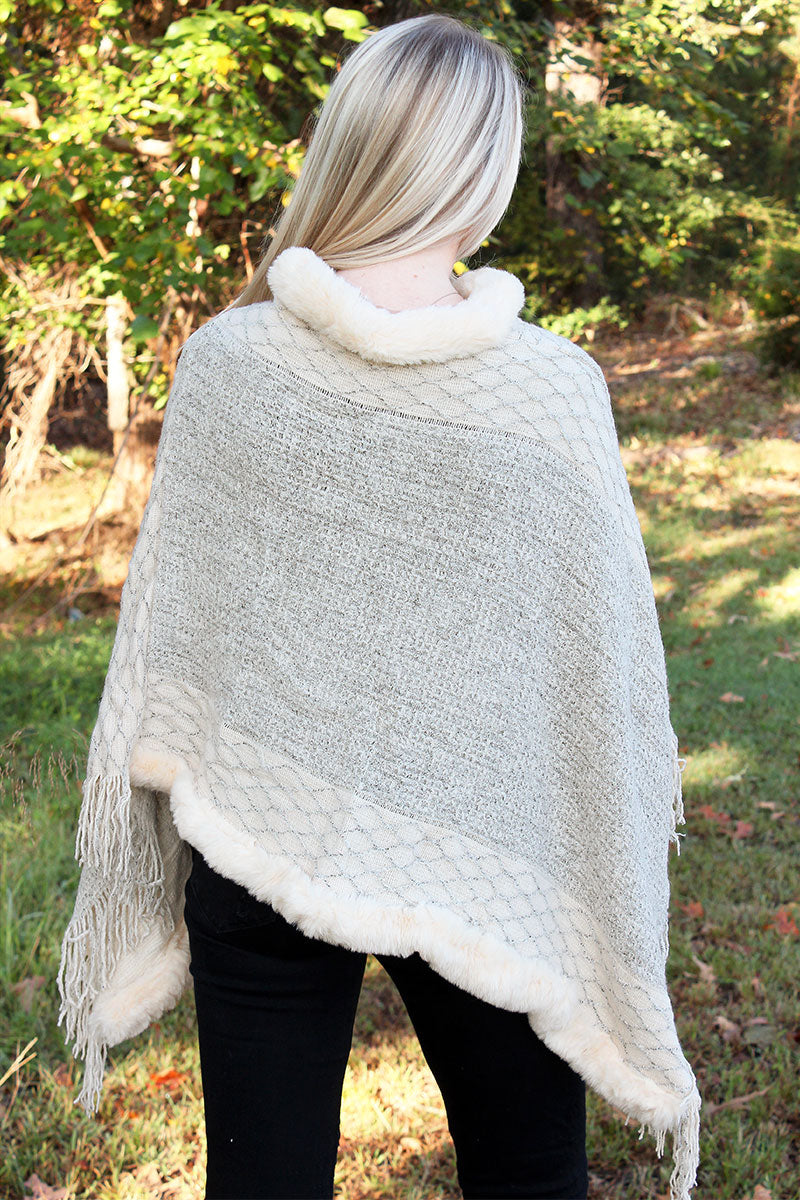 Winter Haven Faux Fur Trimmed Poncho, Ivory